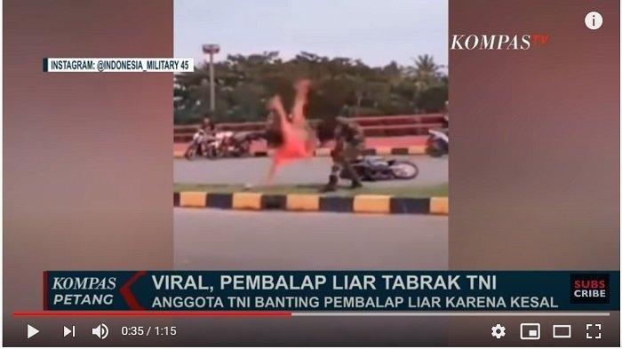 DIREKAM & VIRAL Video Detik-detik Anggota TNI Banting Pembalap Motor Liar yang Menabraknya