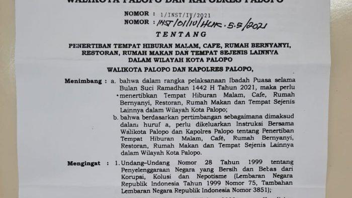 Mulai Lusa, THM, Kafe dan Rumah Bernyanyi di Palopo Wajib Tutup