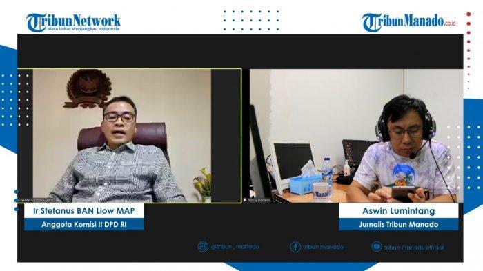 TRIBUN BAKU DAPA - Pnt Ir Stefanus BAN Liow MAP saat hadir di Tribun Baku Dapa secara daring yang dipandu Jurnalis Tribun Manado, Aswin Lumintang