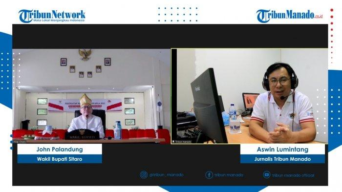 TRIBUN BAKU DAPA - Wakil Bupati Sitaro, Drs John Palandung, M.Si di acara Tribun Baku Dapa yang dipandu jurnalis Tribun Manado, Aswin Lumintang