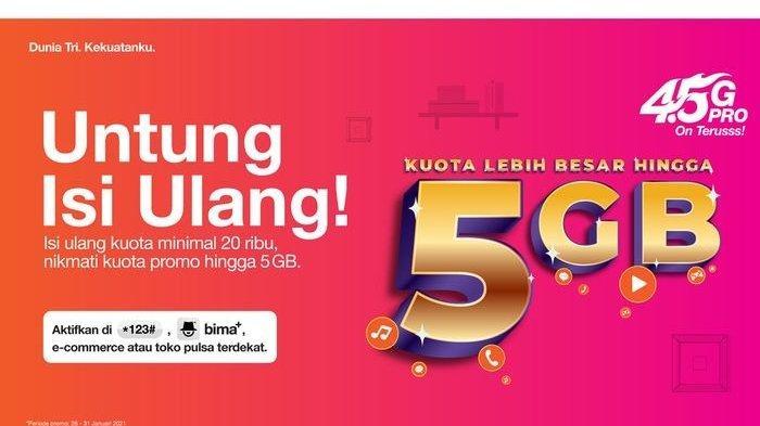 Apresiasi Pelanggan, 3 Indonesia Beri Tambahan Kuota hingga 5GB Setiap Isi Ulang
