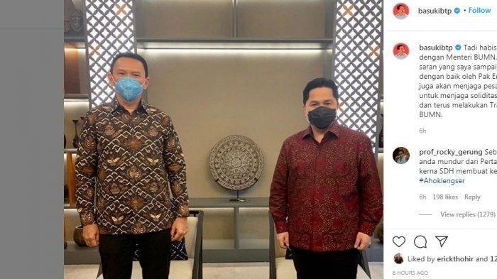 PerintahErick Thohir ke Ahok soal Pertamina Setelah Kritik BTP