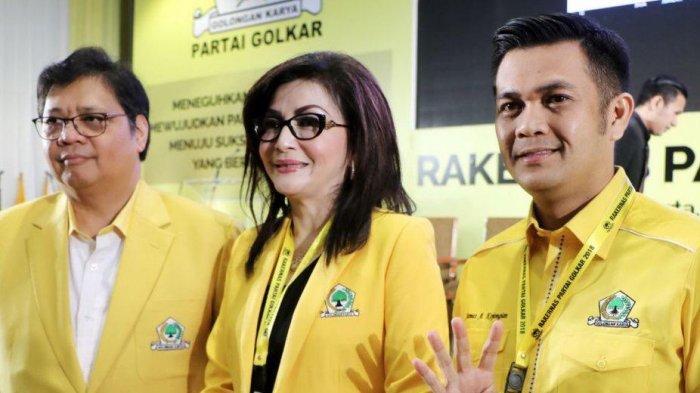 Ketum Golkar Airlangga Hartarto, Ketua Golkar Minsel Tetty Paruntu dan James Arthur Kojongian (Istimewa)