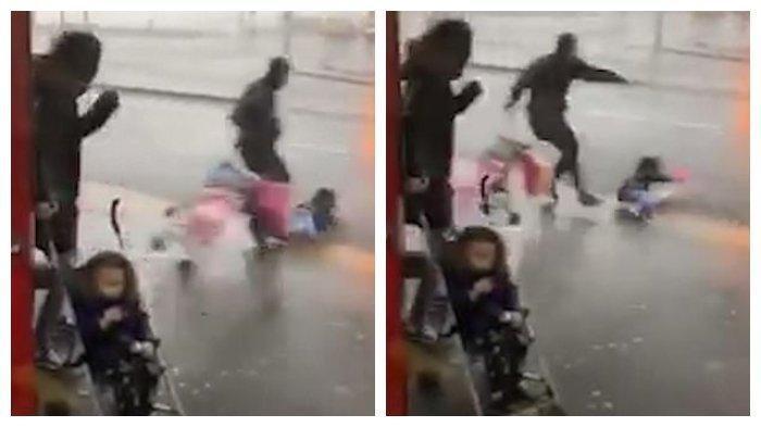 Video Seorang Anak Kecil Terbang Akibat Badai Ciara yang Berkecepatan 80 Mph, Hampir Tertabrak Mobil