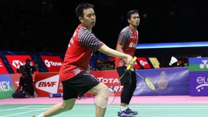 Aksi ganda putra Indonesia, Mohammad Ahsan/Hendra Setiawan