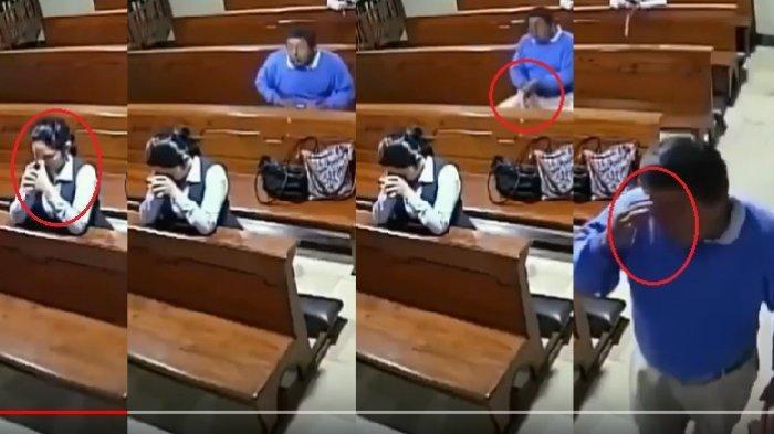Rekaman CCTV Jemaat Dijahati Saat Doa di Gereja Beredar Luas, Pelaku Ikut Berdoa
