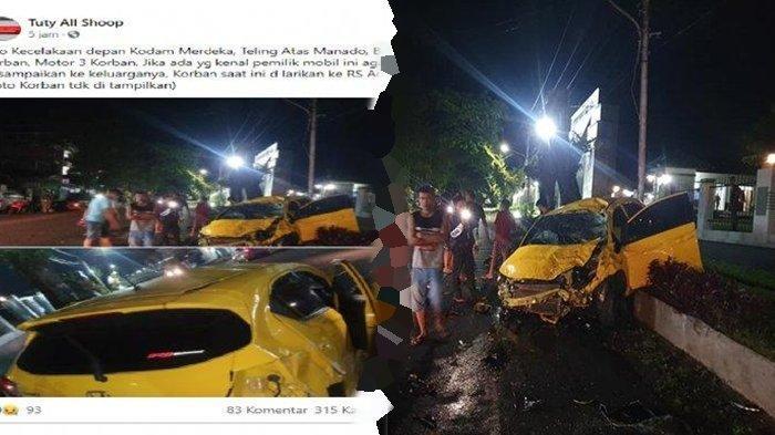 Anggota DPRD Kota Manado Meninggal Dunia Akibat Kecelakaan, Mobil Honda Brio Kuning Rinsek
