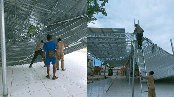 Atap Bangunan Aula Kediaman Bupati Kepulauan Talaud Roboh Dihantam Badai Tropis Surigae