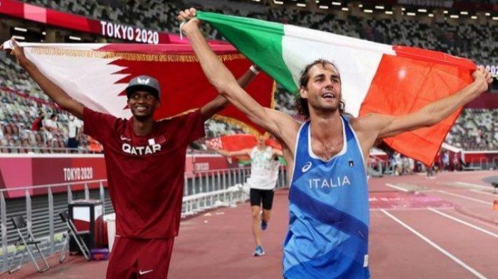Atlet asal Qatar Mutaz-Essa Barshim dan Italia Gianmarco Tamberi memilih berbagi medali emas cabor Lompat Tinggi di Olimpiade Tokyo 2020.