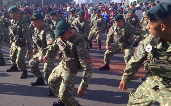 Atraksi prajurit TNI Angkatan Darat memeriahkan hari jadi ke-50 WWF di Indonesia, Minggu (16/12/2012), di Bundaran Hotel Indonesia. Mereka menari bersama diiringi lagu Iwak Peyek dan Gangnam Style saat acara car free day.