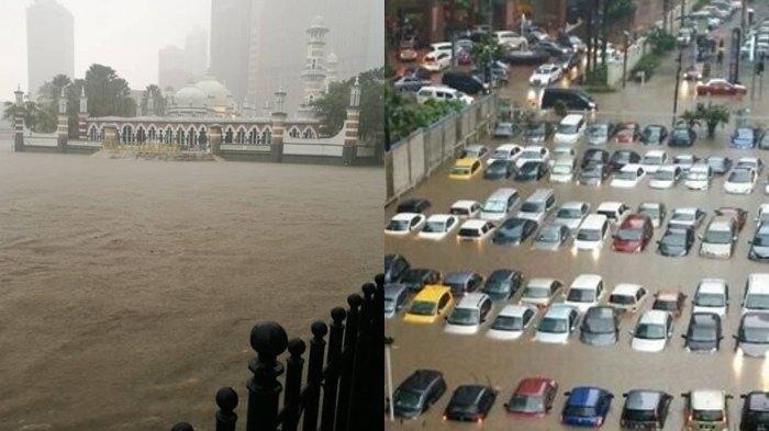 Banjir Tenggelamkan Kuala Lumpur Malaysia, Area Masjid Telah Menjadi Pulau, Kendaraan Terjebak