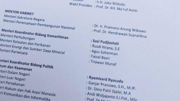 Beredar Draf Terbaru Susunan Kabinet Jokowi-Ma'ruf, Nama Ganjar Pranowo Masuk, Olly Tak Ada