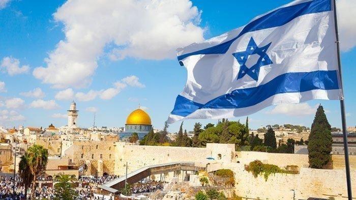 Bendera Israel di kota Yerusalem, Israel.