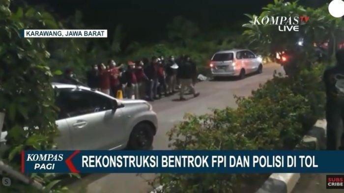 Rekontruksi anggota kepolisian dan Laskar FPI yang digelar pada Senin (14/12) dini hari.