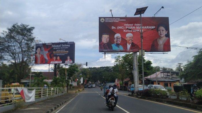 Puan Maharani 'Borong' Spot Billboard di Kota Manado, Ucapan Selamat Datang Para Kader PDIP