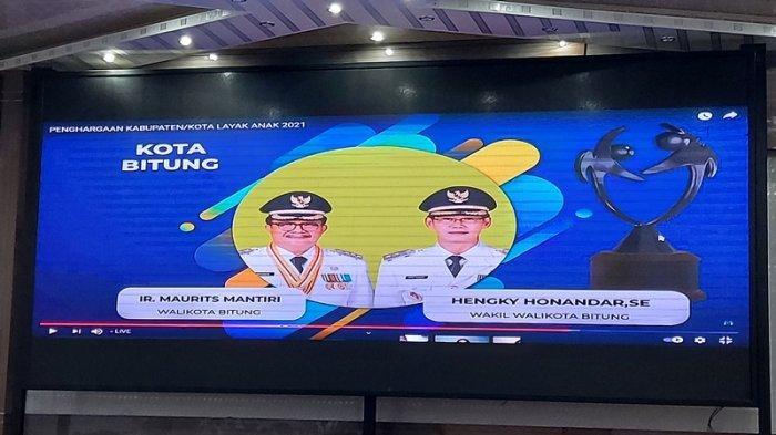 Bitung berhasil meraih penghargaan Kabupaten Kota Layak Anak (KLA) Kategori Nindya.