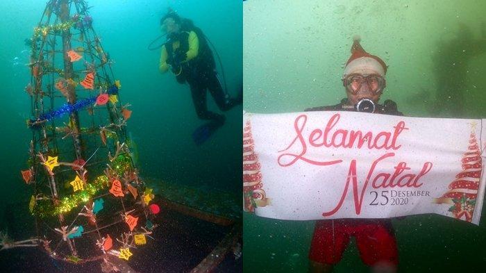 Boboca Diving Club merayakan Natal dengan menanam terumbu karang berbentuk pohon Natal, Kamis 24 Desember 2020 di Boboca House Reef di Malalayang, Kota Manado.