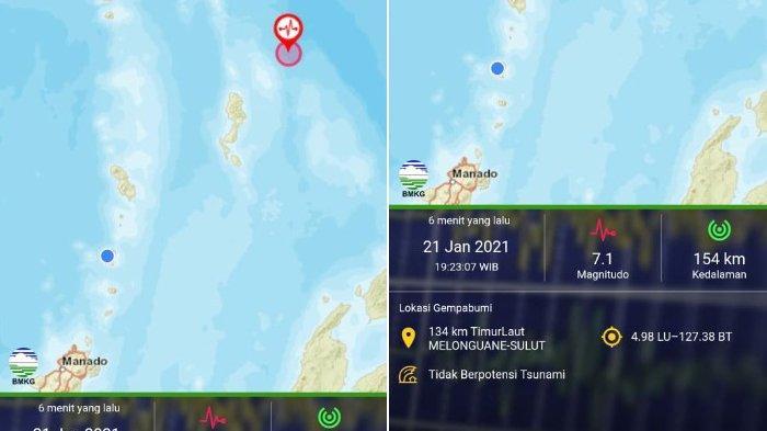 Kolase Gempa Bumi 7,1 Magnitudo Guncang Sulut.