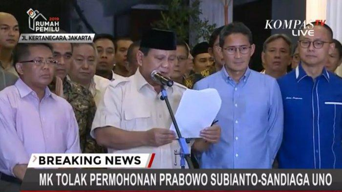 BREAKING NEWS: Prabowo Pidato setelah Ditolak MK: Kami Hormati Hasil Keputusan
