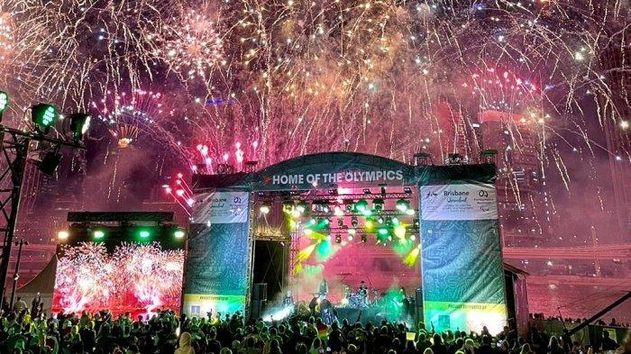 Pesta kembang api menyambut terpilihnya Brisbane sebagai tuan rumah Olimpiade 2032, Rabu (21/7/2021).
