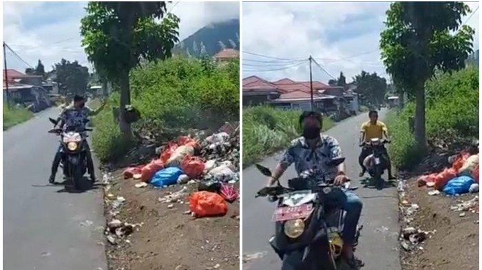 Seorang warga yang memakai motor dinas pelat merah terekan live report live Facebook Tribu Manado. Membuang sampah hampir pukul 12.00 wita, padahal ketentuan dalam membuang sampah di Kota Bitung pukul 18.00 wita - 06.00 wita.