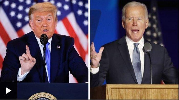 Kolase foto Trump dan Biden.