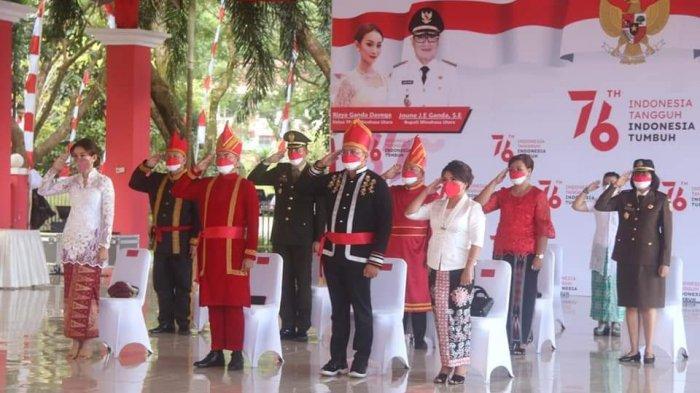 Bupati Minut Joune Ganda tampil gagah pada kesempatan perdananya sebagai Inspektur Upacara (Irup) HUT ke-76 kemerdekaan RI yang digelar di pendopo Pemkab Minut, Selasa (17/8/2021) pag