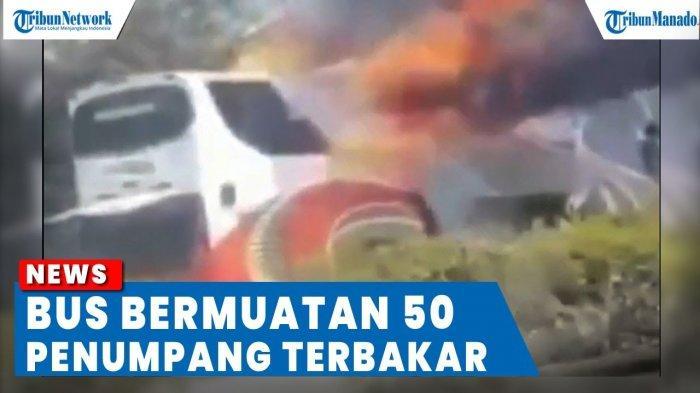 VIDEO Bus Rombongan Peziarah Terbakar di Jalan