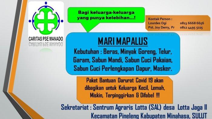 Caritas PSE Manado Hadapi Dampak Ekonomi Covid-19, Ajak Mari Mapalus