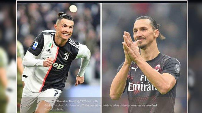 FOTO - Cristiano Ronaldo (kiri) dan Zlatan Ibrahimovic bersiap duel. Jelang AC Milan VS Juventus.