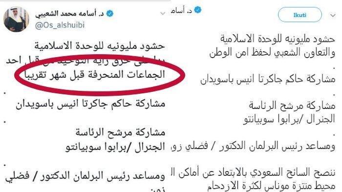 Inilah Kronologi Cuitan Dubes Arab Saudi Osamah Tentang Reuni Akbar 212 yang Diprotes PBNU