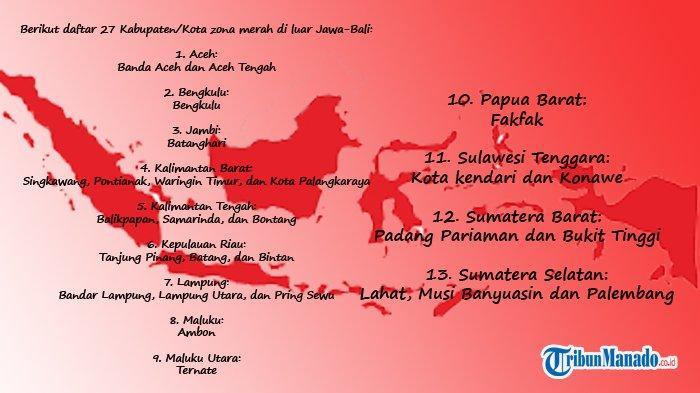 DAFTAR Daerah Zona Merah Covid 19 di Indonesia, Wilayah di Luar Jawa-Bali