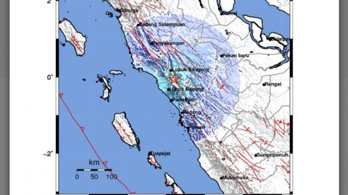 Peta gempa bumi tadi hampir tengah malam. Data BMKG terkini.
