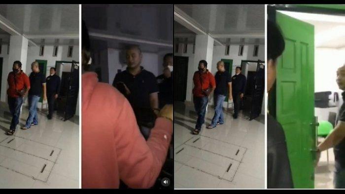 Kolase foto tangkapan layar video Detik-detik Polisi Jemput Pelaku Penganiayaan Perawat RS Siloam Sriwijaya.