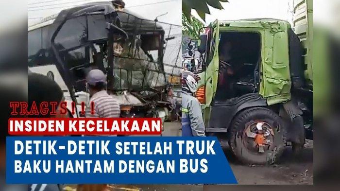 VIDEO Detik-detik Setelah Bus Penumpang Tabrakan dengan Truk Kontainer, Tragis!