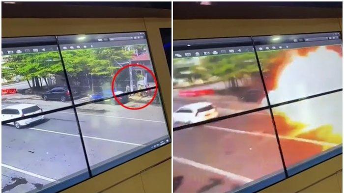 Detik-detik terjadi bom di dekat Gereja Katedral Makassar, Minggu (28/3/2021)