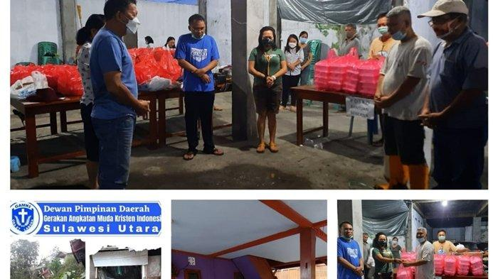 DPD Gerakan Angkatan Muda Kristen Indonesia (GAMKI) Sulawesi Utara (Sulut) membantu warga korban bencana alam di Kota Manado dengan membuat dapur umum.