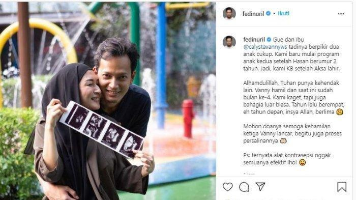 Fedi Nuril umumkan istri hamil anak ketiga.