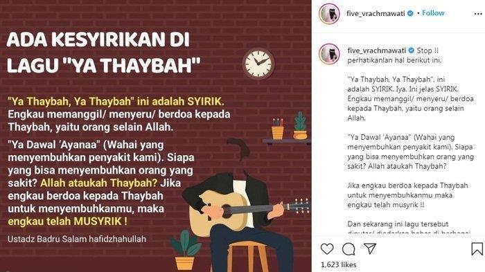 Five Vi menyebut lagu 'Ya Thoybah' adalah syirik.
