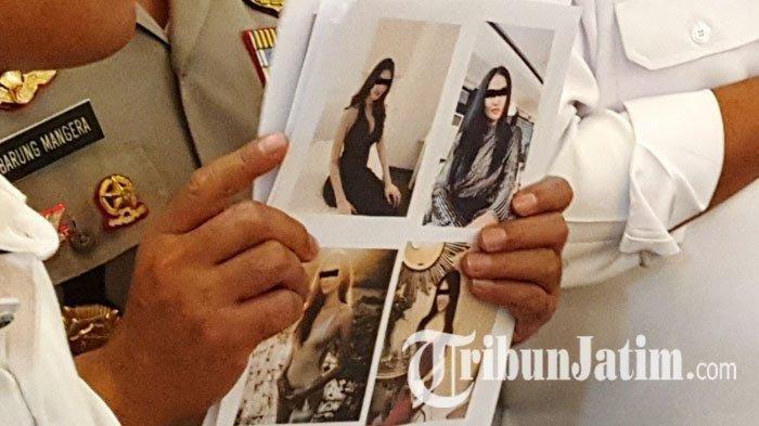 Foto sejumlah artis yang terlibat kasus prostitusi yang dipamerkan