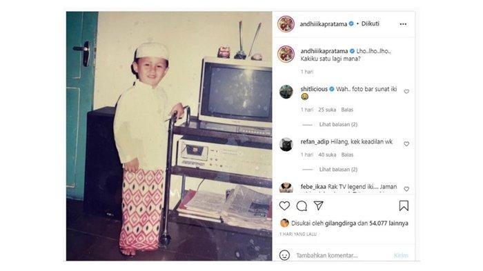 Foto Andhika Pratama saat masih kecil; diunggah di Instagram pada Rabu (6/10/2021).
