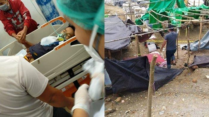 Korban Kecelakaan kerja di tambang Potolo (kiri), Kabupaten Bolmong, Senin (28/6/2021) dan aktivitas di tambang Potolo (kanan).