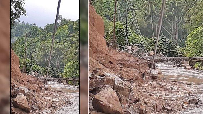 BREAKING NEWS, Hujan Deras Selama 2 Jam, Jalan Masuk Bolsel Tertutup Longsor