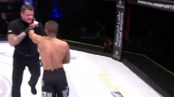 Tak Mau Berhenti Baku Hantam, Petarung MMA Ini Menantang Wasit, Didiskualifikasi