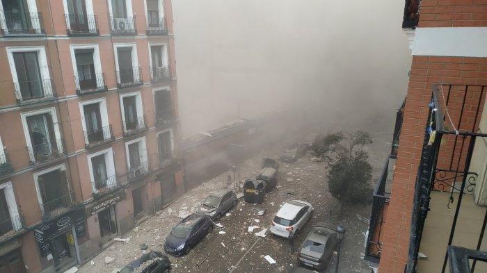 Foto situasi kawasan di Madrid, Spanyol yang diguncang ledakan besar, Rabu (20/1/2021)