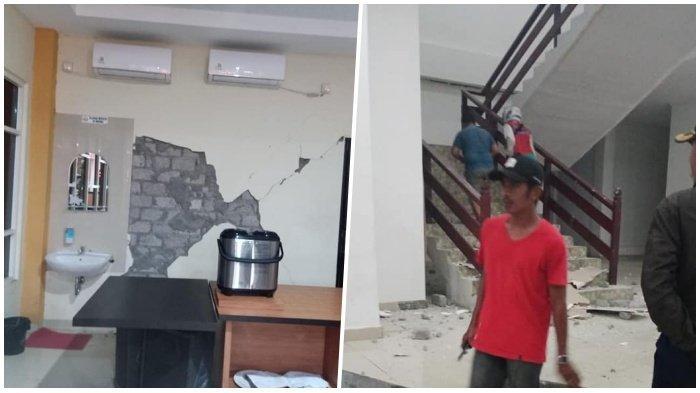 Kolase foto kondisi dalam bangunan rusak akibat <a href='https://manado.tribunnews.com/tag/gempa' title='gempa'>gempa</a> 5,2 Magnitudo Guncang <a href='https://manado.tribunnews.com/tag/halmahera-selatan' title='HalmaheraSelatan'>HalmaheraSelatan</a>.