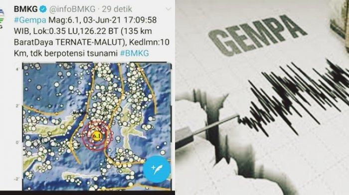 BREAKING NEWS, Gempa 6,1 SR Guncang Daerah Ternate, Terasa Sampai Sulawesi Utara