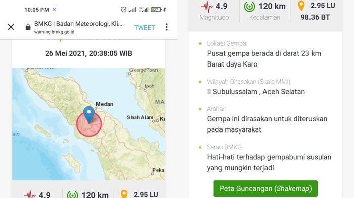 TERKINI Gempa Bumi di Darat Rabu 26 Mei 2021 Malam Ini, Magnitudo 4,9, Berikut Lokasinya