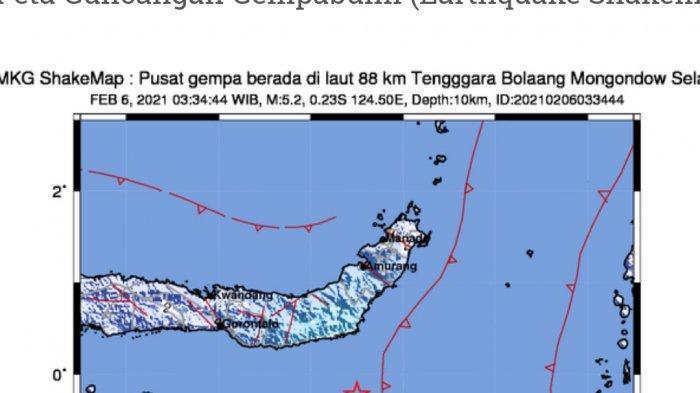 Gempa Bumi Pukul 04.34 Wita, Terjadi di Sulut, Ini Lokasi dan Kekuatannya