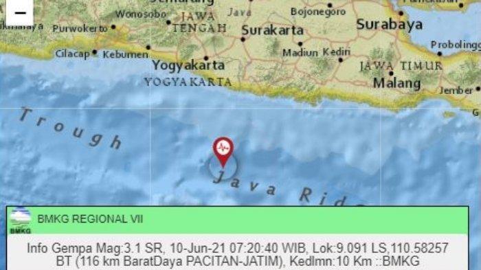 Gempa Hari Ini Kamis (10/6/2021) Pagi, Guncang Wilayah Jawa Timur, Ini Magnitudo dan Titik Lokasinya
